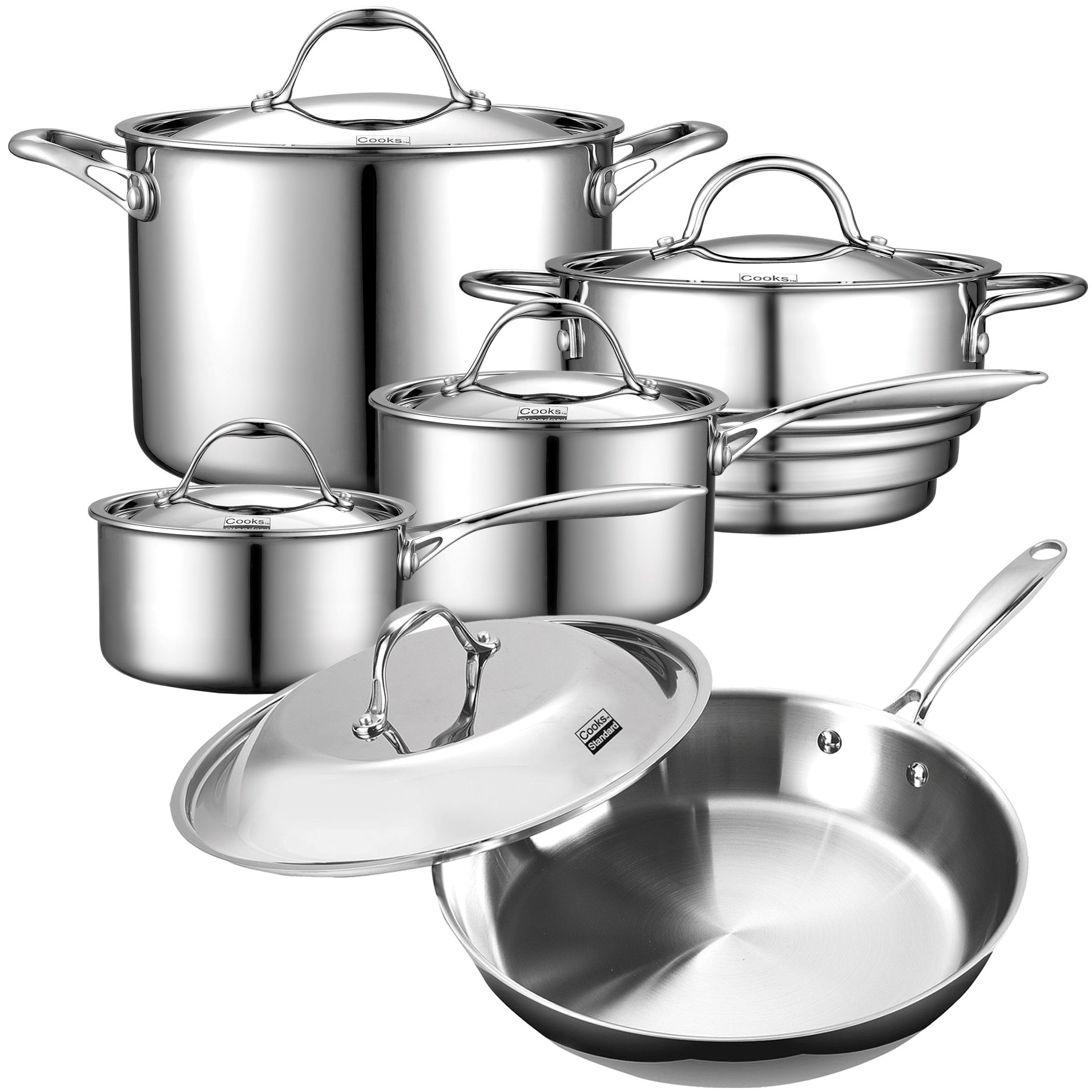 Cooks Standard 10 Pc Stainless Steel Multi Ply Clad