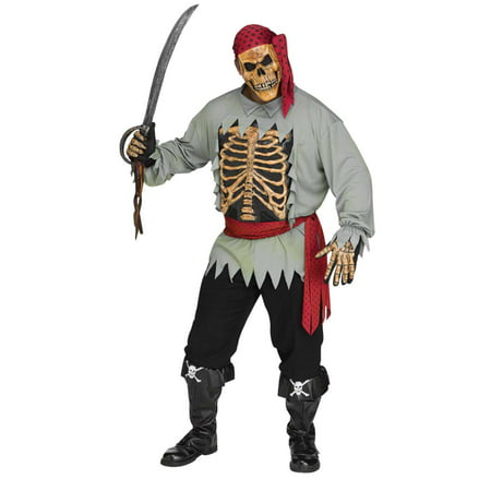 Mens Skeleton Pirate Halloween Costume XL (40-42) - Skeleton Pirate Halloween Makeup