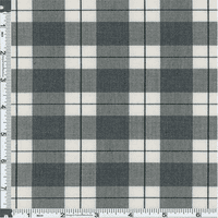 White/Charcoal Preston Plaid Stretch Polyester, Fabric By the Yard