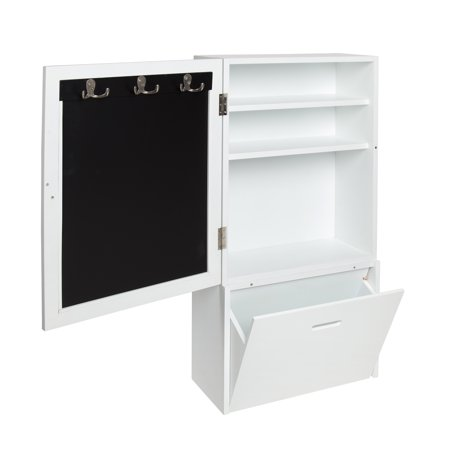 Kate And Laurel Stowe Wall Storage Cabinet With Magnetic Chalkboard Front Large Pull Out Drawer 18 X 36 Inches White