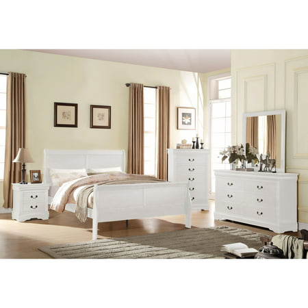 - Acme Furniture  Louis Philippe White 4-Piece Sleigh Bedroom Set