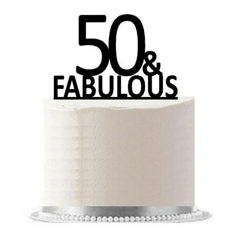 50 & Fabulous Black Birthday Party Elegant Cake Decoration Topper