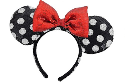 Beautiful Red Bow Tie inspired Black Sequin Minnie Mouse Headband Ears