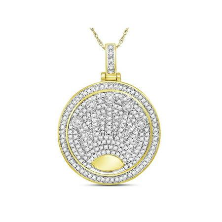 Diamond Crown Charm - 10kt Yellow Gold Mens Round Diamond King Crown Charm Pendant 7/8 Cttw