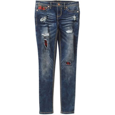 Almost Famous Girls' Distressed Jeans with Plaid Patches