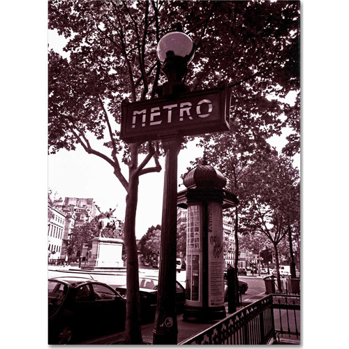 "Trademark Fine Art ""Paris Metro and Kiosk 2"" Canvas Art by Kathy Yates"