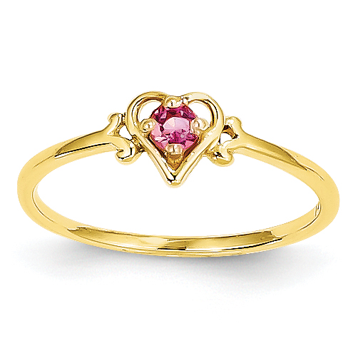 14K Pink Tourmaline Birthstone Heart Ring by Saris and Things QG