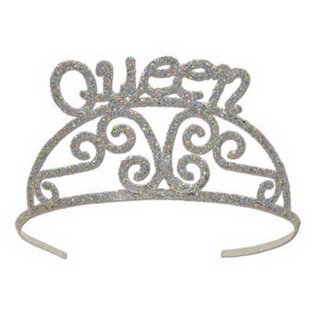 Beistle 60638 Glittered Metal Tiara, Queen (Metal Tiara)