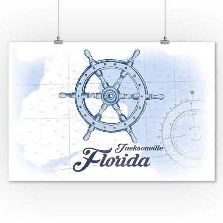Jacksonville, Florida - Ship Wheel - Blue - Coastal Icon - Lantern Press Artwork (9x12 Art Print, Wall Decor Travel Poster)
