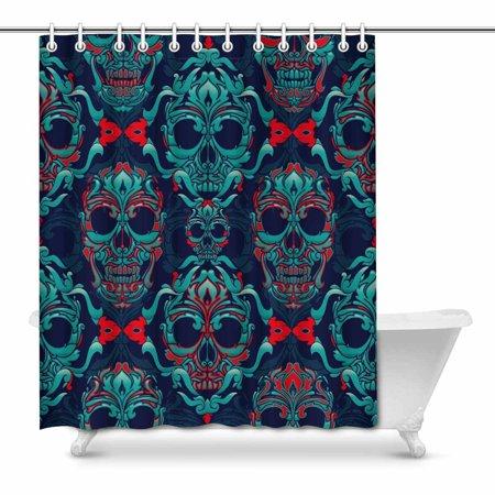 POP Ornamental Skull Pattern Bathroom Shower Curtain Set 66x72 inch - image 1 of 1