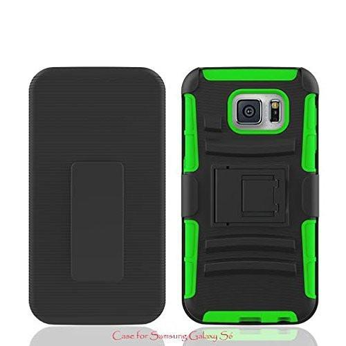 Rugged Hybrid Triple Layer Holster Shell Combo CaseGalaxy S6 Case, [Kickstand and Clip] for Samsung Galaxy S6 - Lime Green