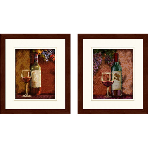 """Wine"" Framed Art, Set of 2"