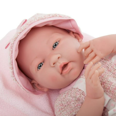 """JC Toys La Newborn 15"""" All-Vinyl La Newborn Doll in pink multi-piece outfit with blanket. REAL GIRL!"""