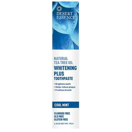 625 Mint - Desert Essence Natural Tea Tree Oil Whitening Plus Fluoride-Free Toothpaste, Cool Mint, 6.25 Oz