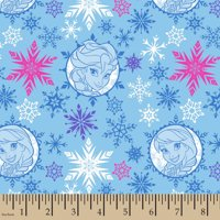"Disney Frozen Winter Sisters Papercut Badges, Blue, 43/44"" Width, Fabric by the Yard"