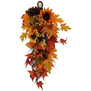Yellow Sunflower and Pumpkin Teardrop Harvest Decoration