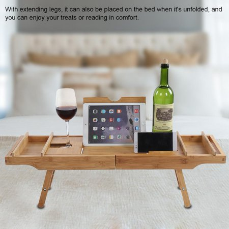 Knifun Bamboo Bathtub Caddy Tray with Extending Legs Cellphone Wineglass Holder Accessories Placement, Bamboo Bathtub Caddy, Accessories Placement for Bathtub