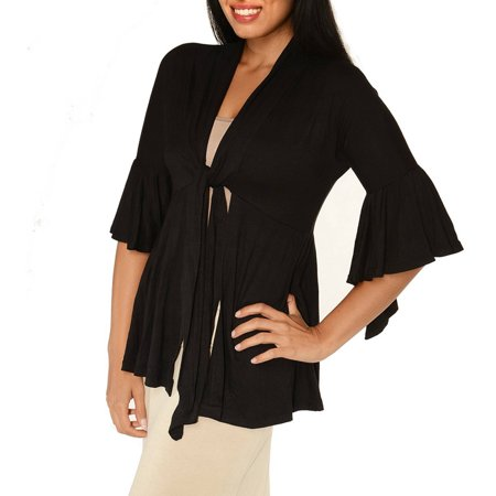 Women's 3/4 Bell Sleeve Shrug With Front Tie - Bolero Tie