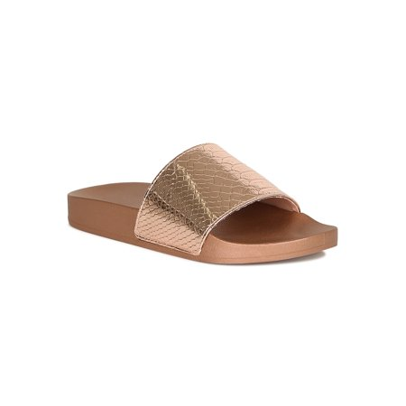 - Women Metallic Snake Embossed Footbed Slide Sandal 18889