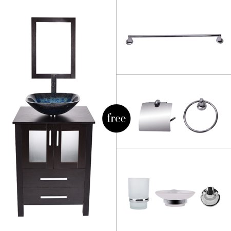 Bathroom vanity 24 39 39 floor cabinet single vessel square - Bathroom vanity and mirror combo ...