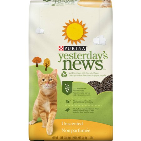 Purina Yesterday's News Unscented Scent Original Texture Cat Litter, 15 lb. Bag