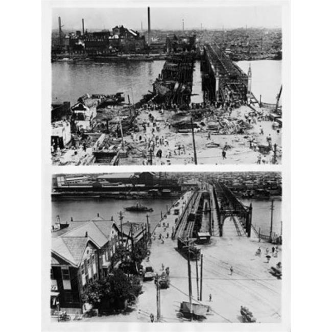 Posterazzi SAL990111668F High Angle View of Azume Bridge in Tokyo the After Earthquake of September 1 1923 & Four Years Later on September 1 1927 Japan Poster Print - image 1 of 1