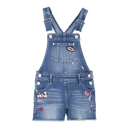 - Patches Fray Hem Denim Shortall (Little Girls & Big Girls)
