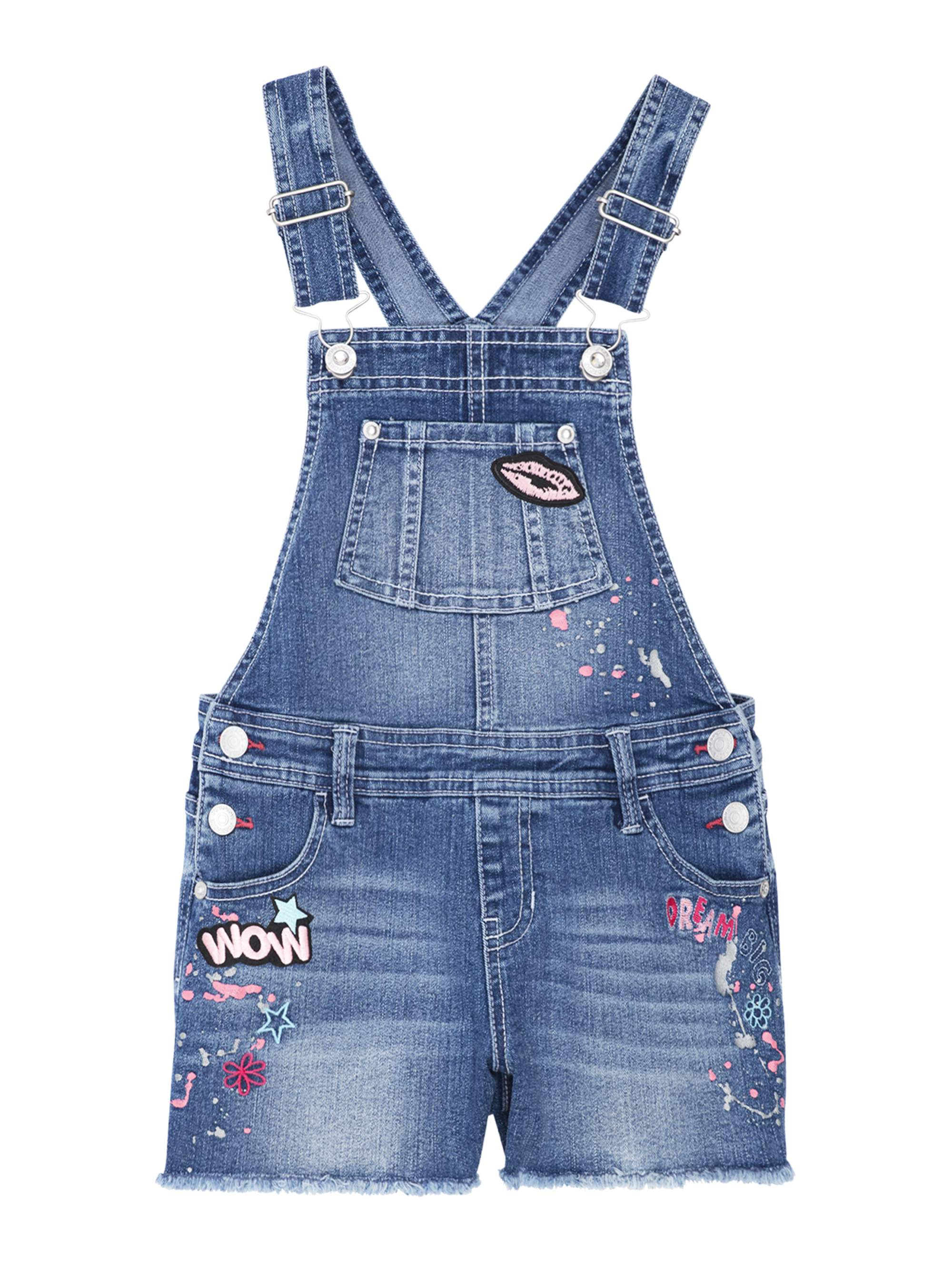 Patches Fray Hem Denim Shortall (Little Girls & Big Girls)