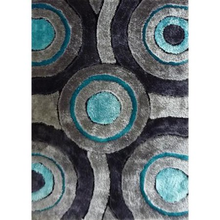 Rug Addiction Silver Grey Turquoise Black Handmade Shag
