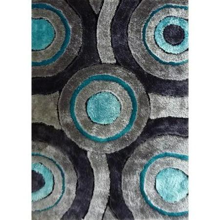 Silver Grey Turquoise Black Handmade Shag Area Rug 4 X 5