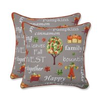 Set of 2 Gray and Orange Thanksgiving Inspirational Indoor Throw Pillow 18.5""
