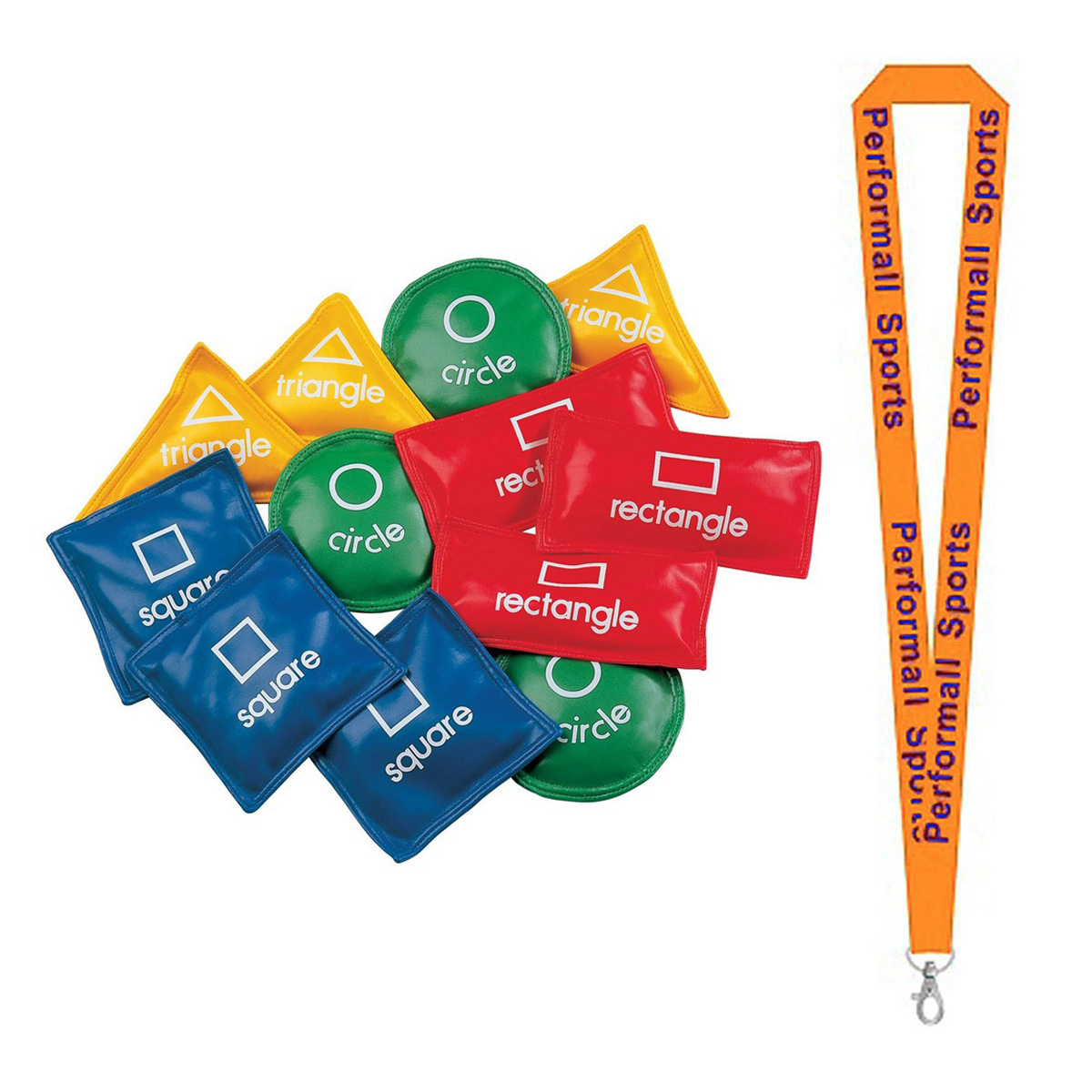 "Champion Sports Bundle: (Set of 12) 5"" Geometric Bean Bag Set Assorted   1 Performall Lanyard GS55-1P"