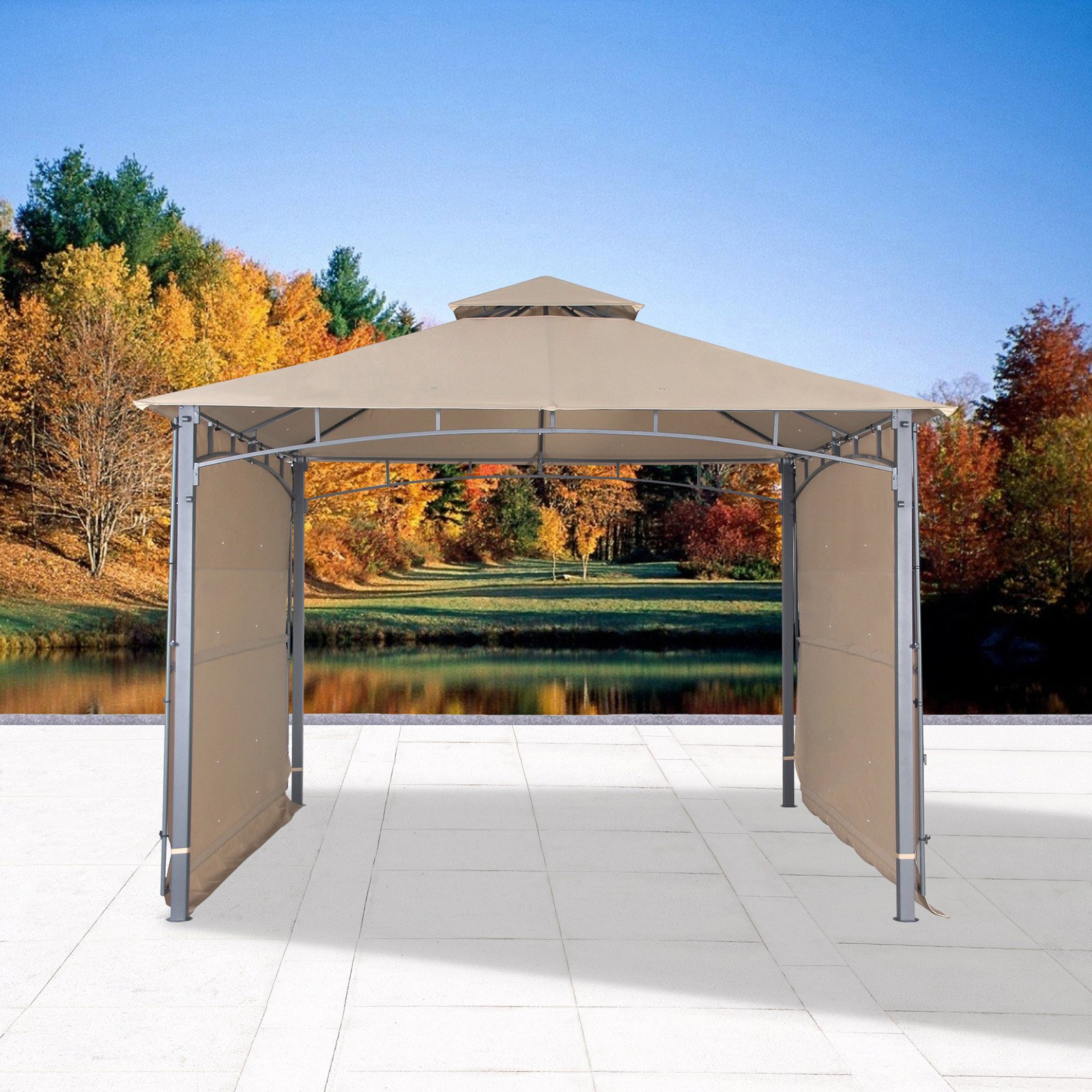 Cloud Mountain 10.83 ft. Two Tiered Gazebo Canopy with Two Side Sunshade Walls