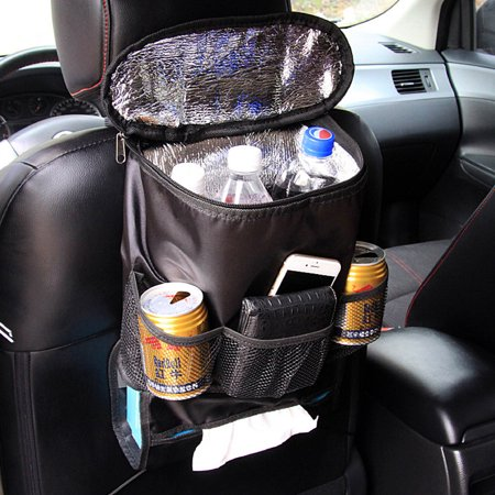 CoreLife Car Back Seat Organizer with Tissue Box Holder and Insulated Cooler Pouch Secure Travel Vehicle Organization Cover, Black ()