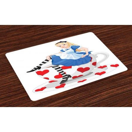 Alice in Wonderland Placemats Set of 4 Alice Sitting on a Tea Cup with  Heart Shape Character Fantasy Tale, Washable Fabric Place Mats for Dining  Room ...