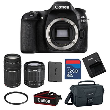 Canon EOS 80D 24.2 MP CMOS Digital SLR Camera with EF-S 18-55mm f/3.5-5.6 IS STM Zoom Lens & EF 75-300mm f/4-5.6 III Zoom Lens -