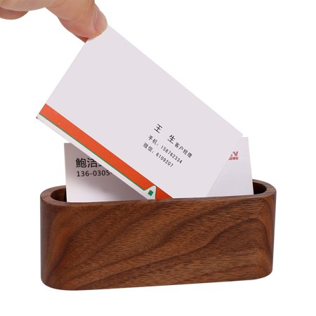 1pc Creative Wooden Business Card Holder Case Storage Box Organizer