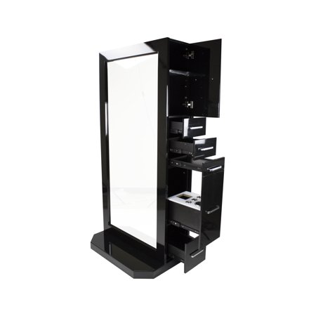 Berkeley Sigma Modern Black Double Sided Tall Full Wide Beauty Salon Hair Styling Station W/Ample Drawer Storage Space Beauty Salon Furniture by Berkeley