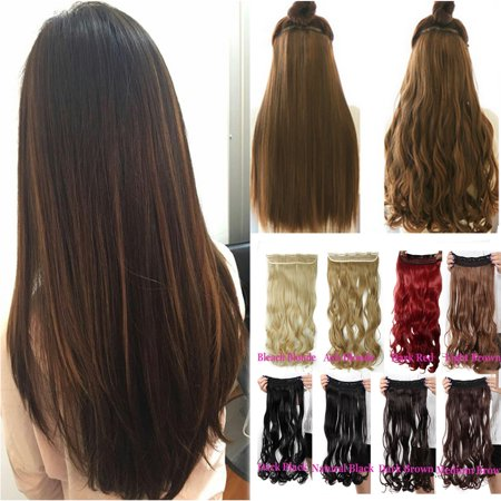 FLORATA 24-29 Inches Wavy 3/4 Full Head Clip in Hair Extensions One Piece  Hair Wigs Up to 20 colors - Color Hair Extensions