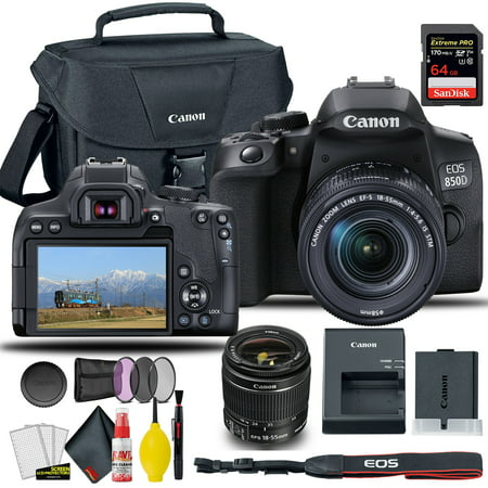 Canon EOS 850D / Rebel T8i DSLR Camera with 18-55mm Lens (Black) + Creative Filter Set, EOS Camera Bag + Sandisk Extreme Pro 64GB Card + 6AVE Electronics Cleaning Set, and More (International Model)
