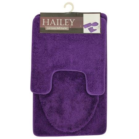 Hailey 3 Piece Bathroom Rug Set, Bath Mat, Contour Rug, Toilet Seat Lid Cover [Purple]