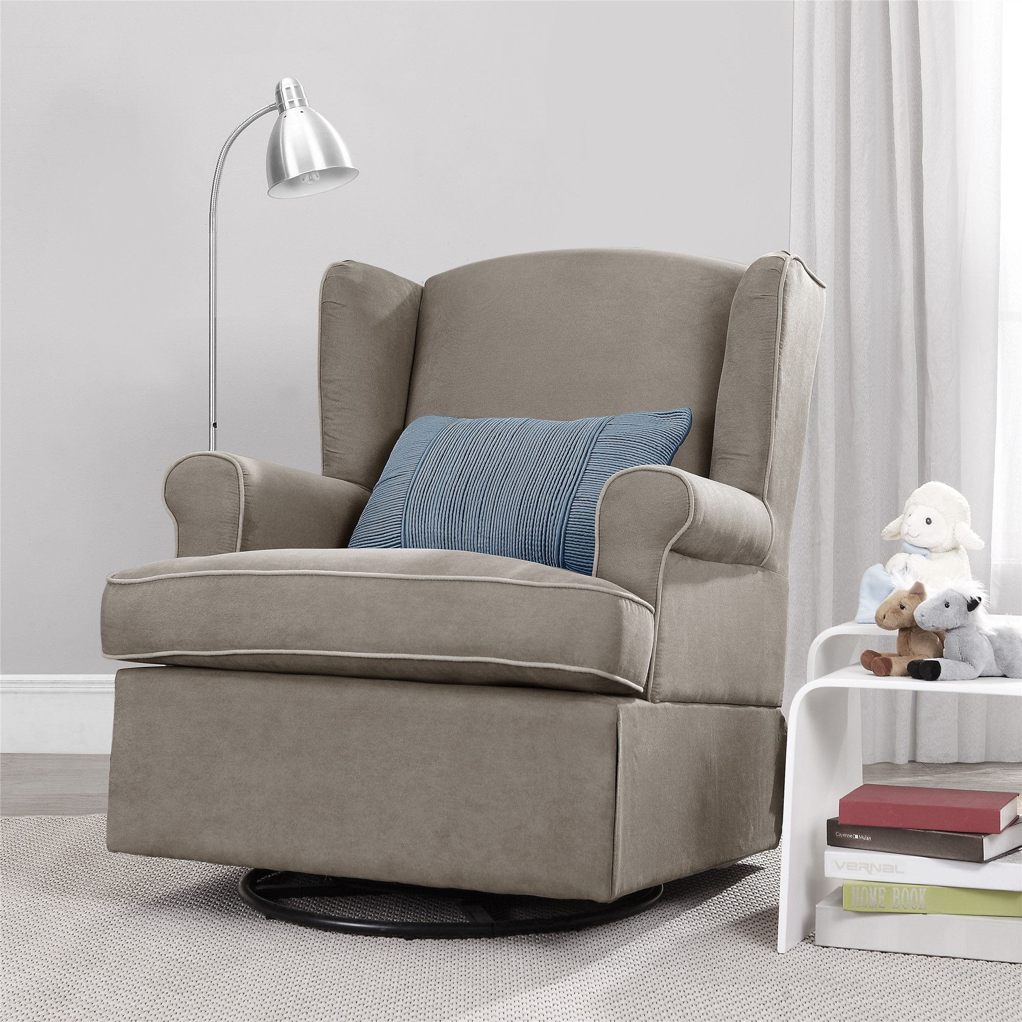 Astonishing Details About Baby Relax Furnishings Colby Dark Taupe Swivel Glider Chair Squirreltailoven Fun Painted Chair Ideas Images Squirreltailovenorg