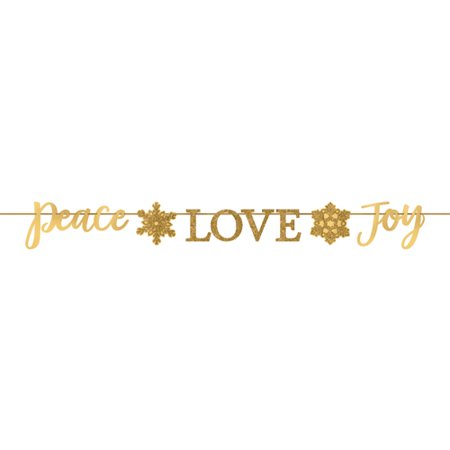 Joy Banner (Christmas 'Peace Love Joy' Gold Glitter Banner (1ct))