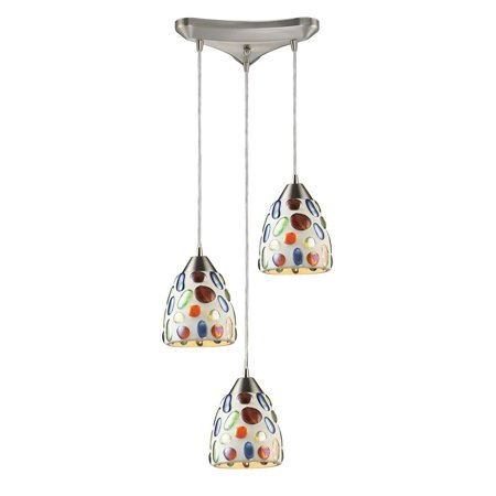 New Product ELK Lighting The Gemstones 3 Light Pendant In Satin Nickel And Sculpted Multicolor Glass 542-3 Sold By (Nickel Super Gem)