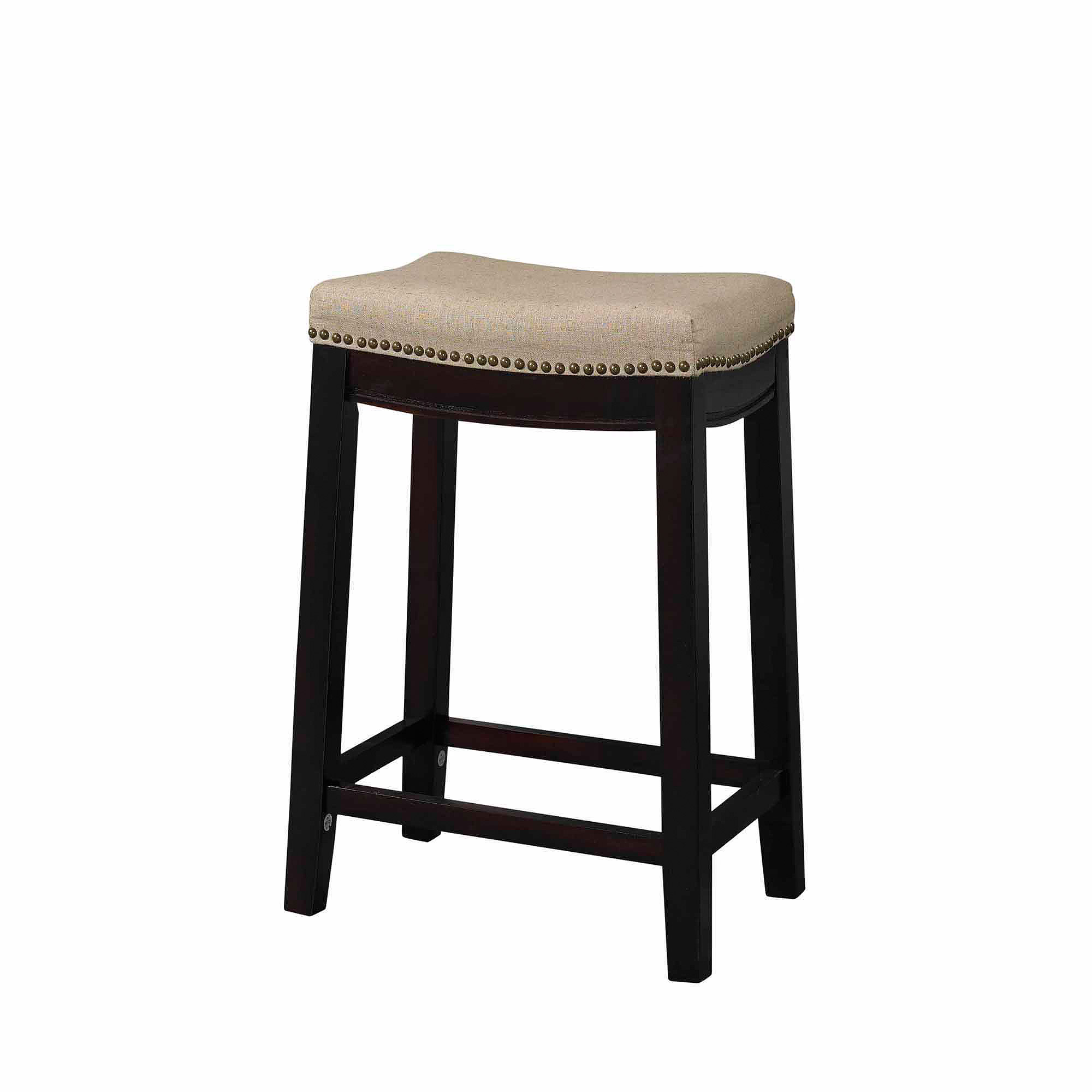 Linon Hampton Fabric Top Counter Stool Beige 24 Inch