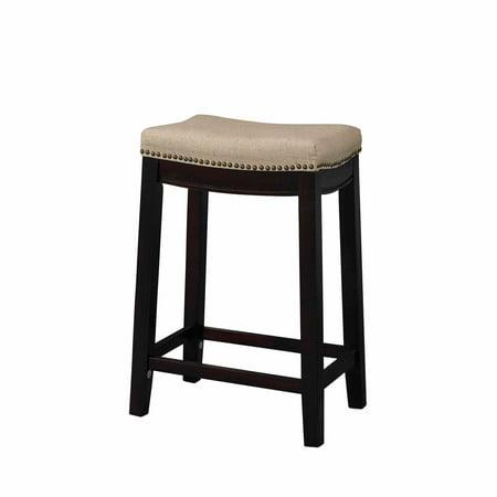 Linon Hampton Fabric Top Counter Stool, Beige, 24 inch Seat Height ()