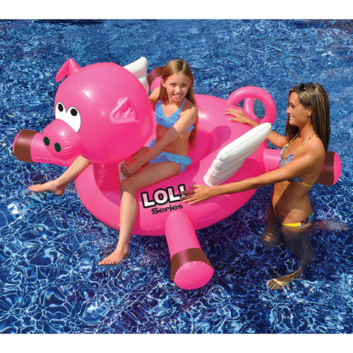 "LOL 54"" Pig Inflatable Ride-On Pool Toy"