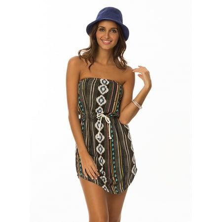 Lagaci Warrior Princess Aztec Print Tube Dress w Adjustable Drawstring](Warrior Dress Up)