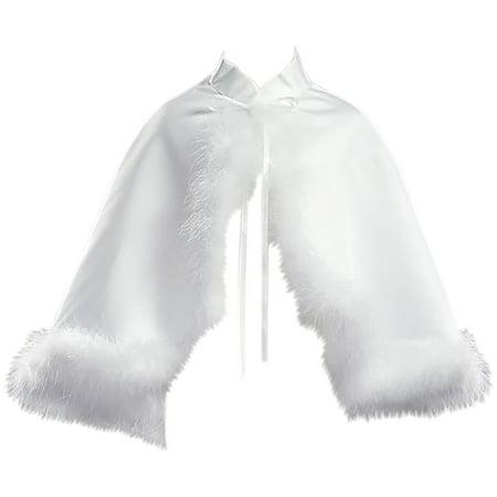 Little Girls Satin Cape Feathers Bolero Jacket Cover Shrug Sweater Christmas White S  (L10T33) - Girls Velvet Shrug