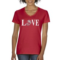 Trendy USA 145 - Women's V-Neck T-Shirt Love Marines USMC Soldier Military Support XS Heather Grey